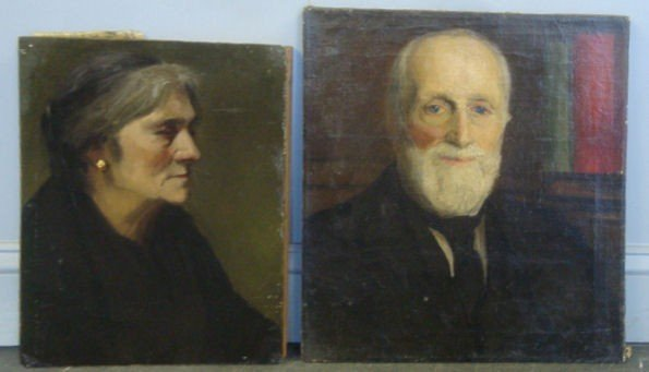 24: Attributed to Emily Hatch. 2 O/C Portraits.