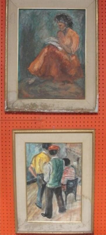 1: ROTH, Rubi. 2 Pieces Midcentury Art - O/C of Woman