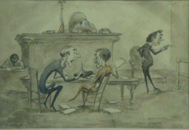 2: SOPHER, Aaron. Watercolor of Court Room.