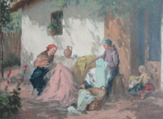 5: Oil on Canvas of Peasant Family.