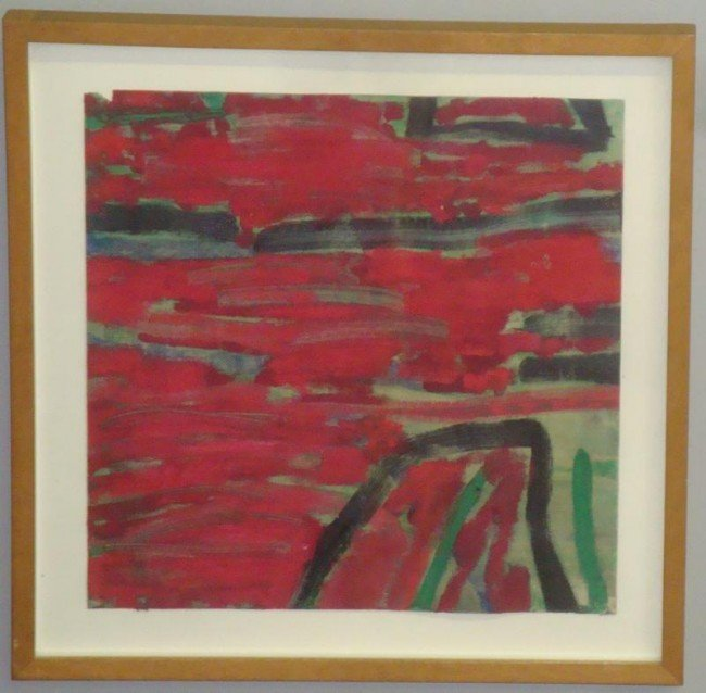 """9: O'DONNELL, Hugh. Oil on Canvas & Paper """"Red Lake."""""""