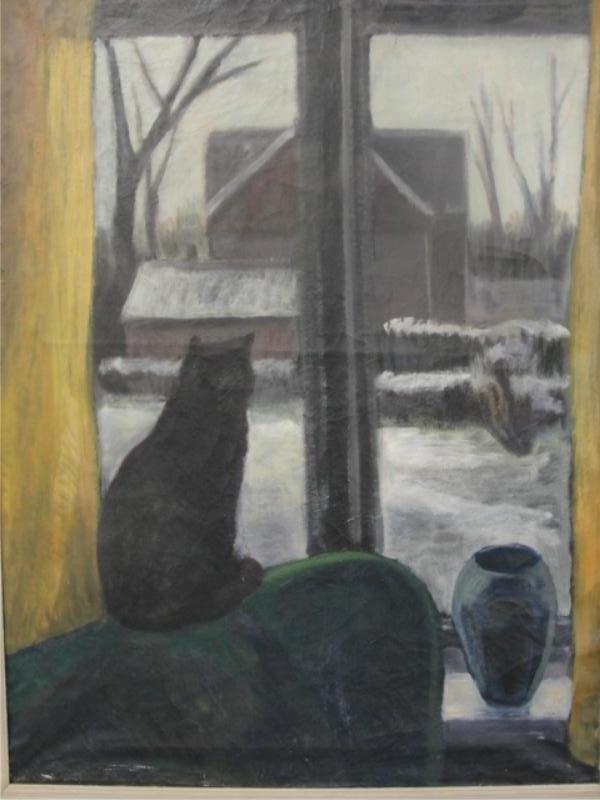 12: SEJG, Johan. 1930 O/C Canvas of Cat in Winter