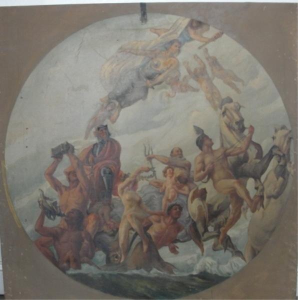 14: Mural-Style Oil on Canvas. Mythological Scene.