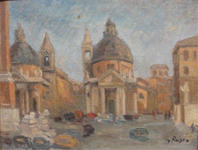 15: Oil on Canvas of Italian (?) Street Scene.
