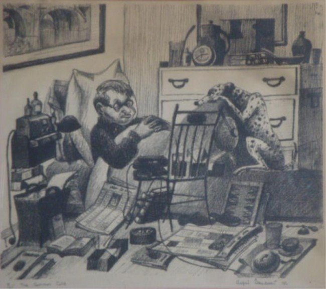 """16: BENDINER, Alfred. Signed Print """"The Common Cold"""""""