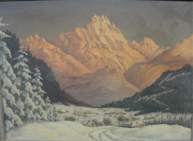 17: RAYNOR, F. Oil on Canvas of Matterhorn and