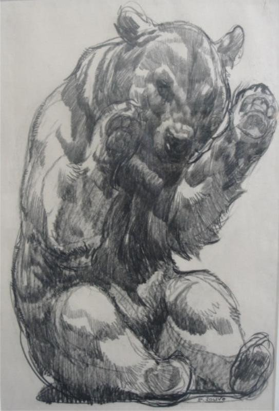 18: JOUVE, Paul. Crayon on Paper Drawing of Bear.