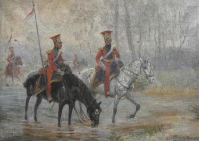 19: Signed. O/C of French Lancers Crossing a Stream.