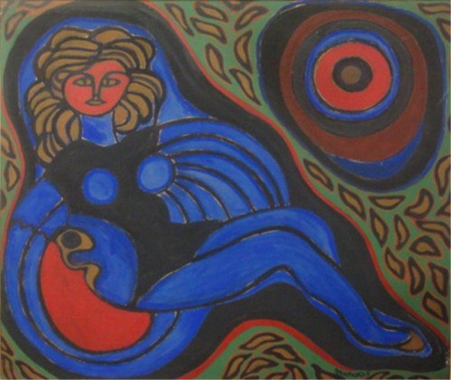 """20: GAUDNEK, Walter. 1963 O/C """"The Girl With the Red"""