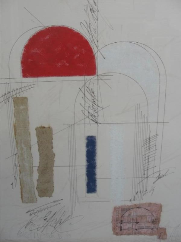 21: Illegibly Signed and Dated Mixed Media Drawing.