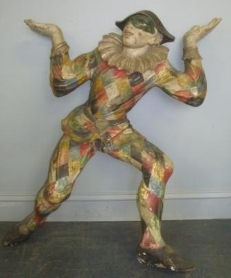 80: Antique Italian Polychromed Carved Wood Harlequin.