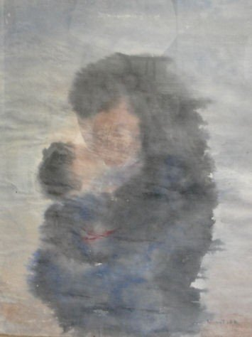 6: Impressionist Watercolor of Woman and Child.