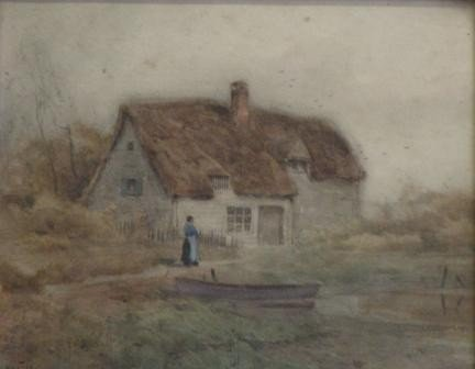 8: Signed. 19th C. Watercolor of Cottage and Woman.