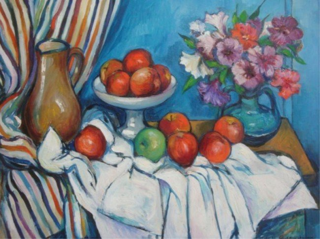 14: EICHTERHEIMER, Martin. O/C Apples and Bouquet