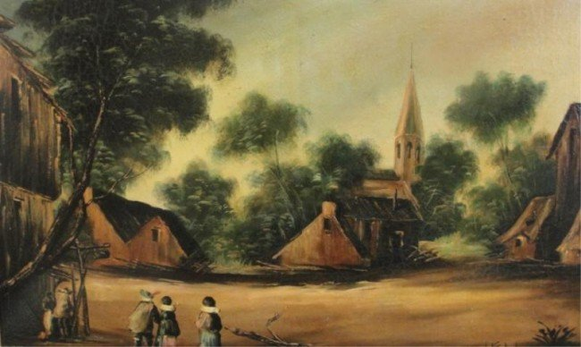22: Oil on Canvas of Village Scene.