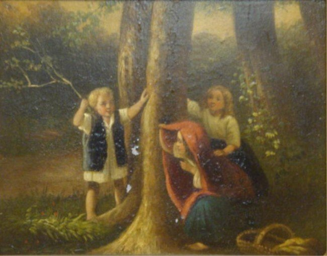 23: Signed. Oil on Tin of Children in Forest.
