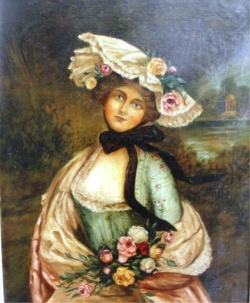 3: PISANI. O/C Woman in Bonnet and Flowers.