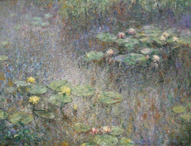 9: CEBALLOS, Rufino. Impressionist O/C of Lily Pads.