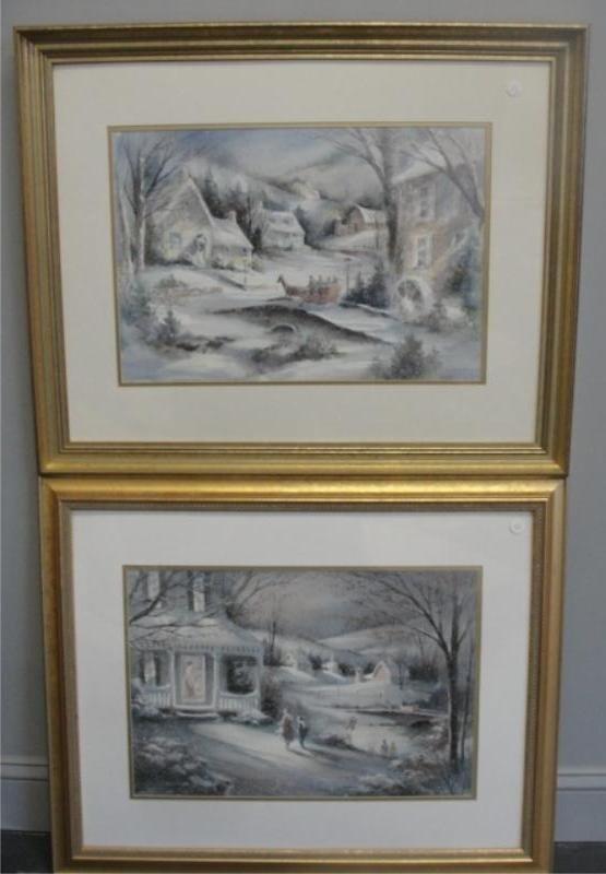 13: BJORKLAND, George. 2 Winter Watercolors.
