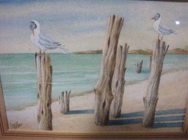 16: Set of  Watercolors - G. Miller Shoreline Scenes.