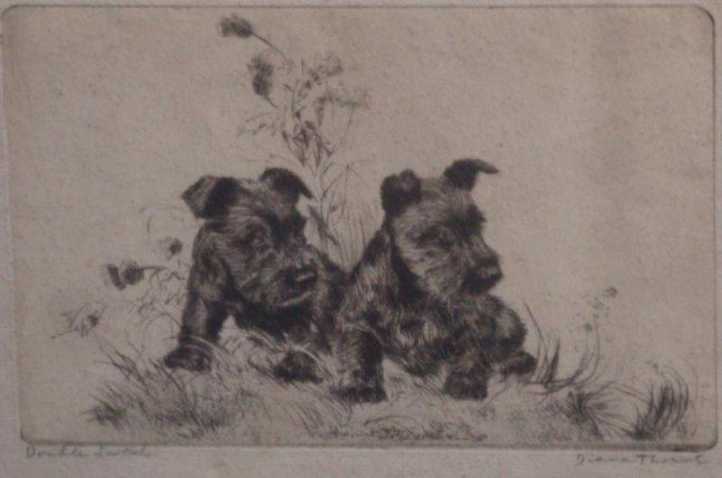 20: THORNE, Diana. Drypoint Etching of Scotties.