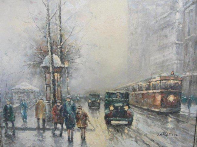 22: GASTON, Johnny. O/C of Rainy Paris Boulevard