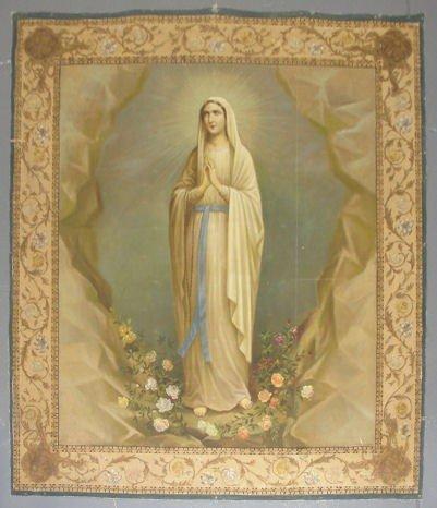 23: ANGELETTI, V. Vintage Oil on Canvas of Virgin Mary