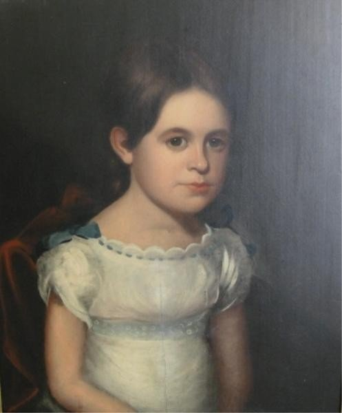 42: Unsigned. 19th C. Oil on Panel Girl in White Dress