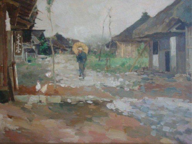 54: ISHIKAWA, Kinichiro. Oil on Panel Japanese Woman