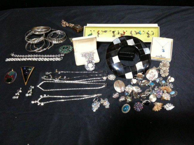 109A: Large Lot of Vintage Costume Jewelry incl Sterlin
