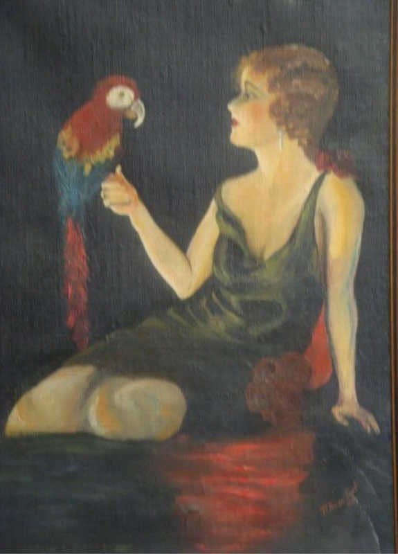 2: Signed. 1932 Oil on Canvas of Girl & Parrot.
