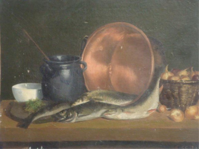 3: Initials G/C. 1893 O/C Still Life with Trout.