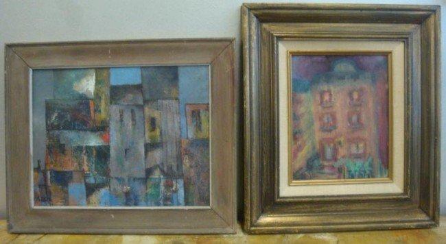 9: 2 Signed Modernist Oils of Buildings.