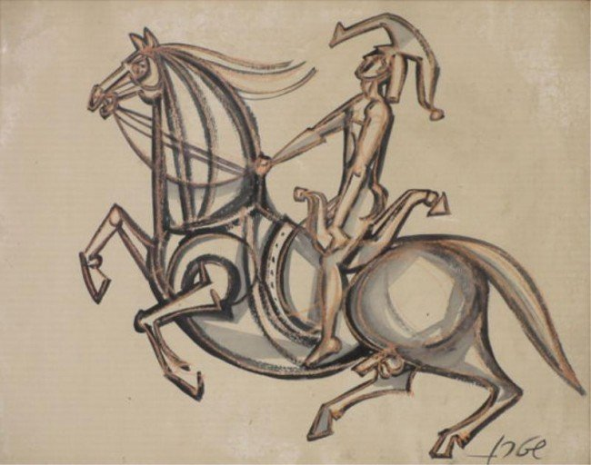 12: Signed Modernist M/M Drawing of Rider on Horseback