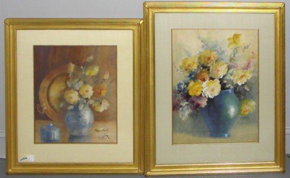 18: DUNLAP, Jean. 2 Watercolor Floral Still Lifes.