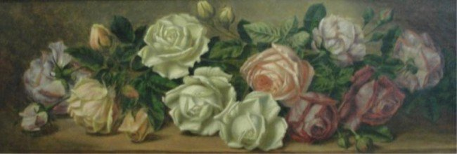 21: COLLIER, T.F. O/C Still Life Pink & White Roses.