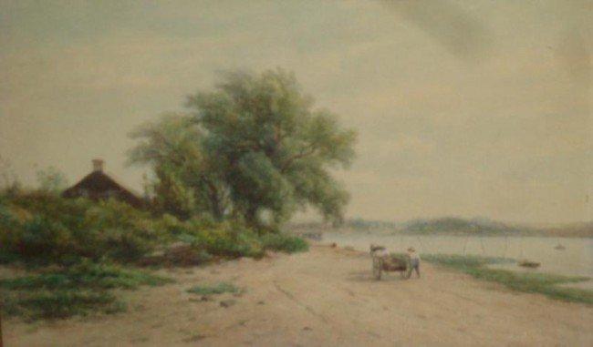 23: VAN ELTEN, Kruseman. 19th C. W/C Landscape River-