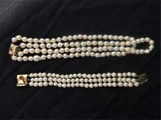 132 Double Strand of Baroque Pearls with Matching