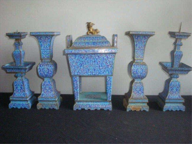 180: 19th C. Chinese Enameled 5-Piece Garniture Set.
