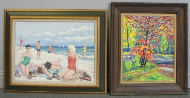10: BOUBLYS, Jacobus. 2 Oils on Board. Beach Scene and