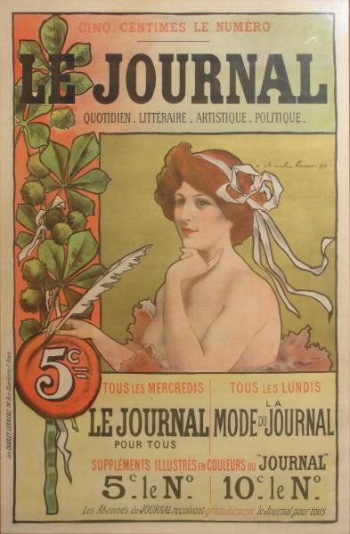"""13: French """"Le Journal"""" Lithograph Poster."""