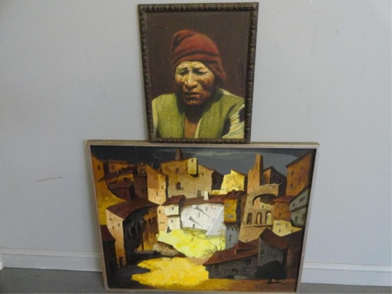 15: 2 Signed Paintings. Cityscape and a Portrait.