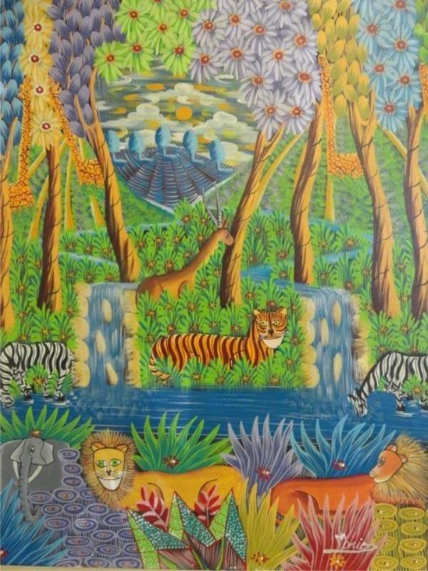 16: Primitive O/C Jungle Scene.