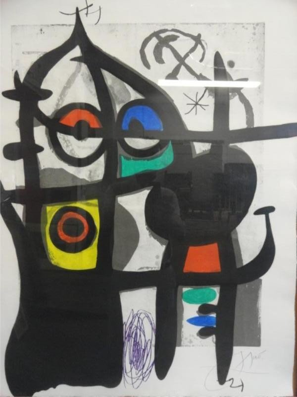 17: MIRO Signed Lithograph with Hand-Coloring.