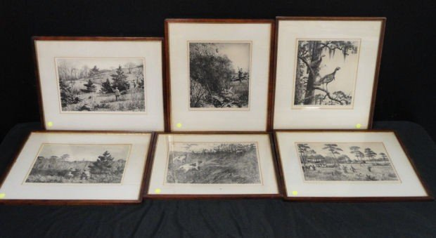 21: RIPLEY, Aiden Lassell. 6 Etchings with Drypoint.