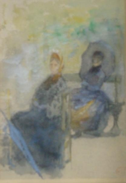 23: Watercolor of Two Ladies Seated in a Park.