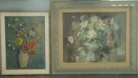 20A: Signed, Listed. 2 Oil Paintings - Floral Bouquets
