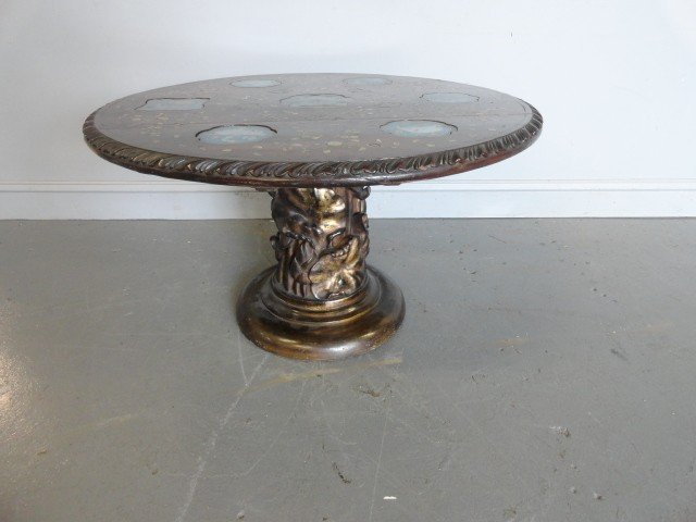 165A: Asian Carved Wood Coffee Table With Inserts