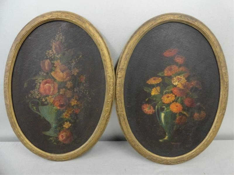 2: Pair of Victorian Oval Still Life O/C on Boards