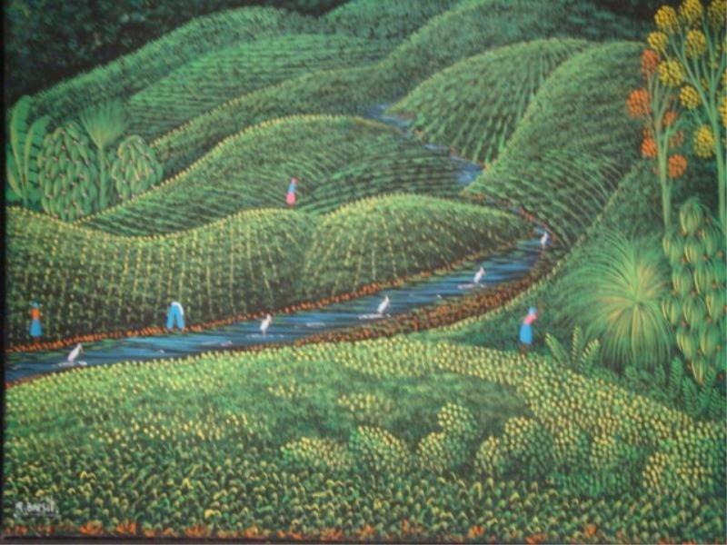 3: BRESIL, H.R. O/C Harvest Landscape with Figures